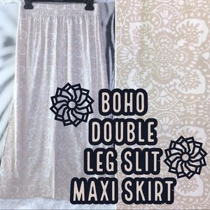 Boho Print Double Leg Side Slit Maxi Skirt XS